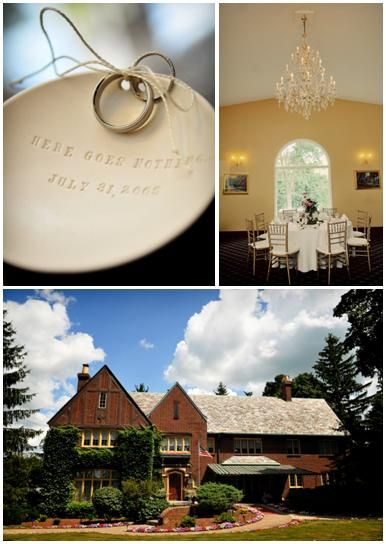Wedding bands tied to ivory ceramic plate engraved with wedding date; gorgeous B&B wedding venue in