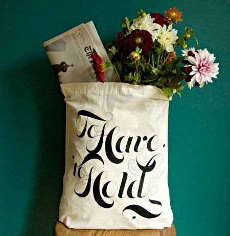 "Chic recycled and reusable tote bag, personalized with ""To Have and To Hold"""