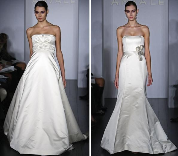 White wedding dresses with floral applique under bust and small bow with crystal brooch