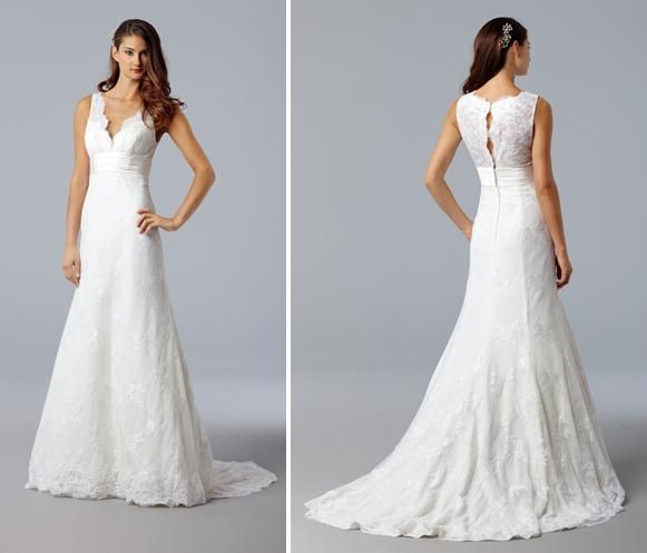 Vneck White Lace Wedding Dress With Beautiful Timeless Back