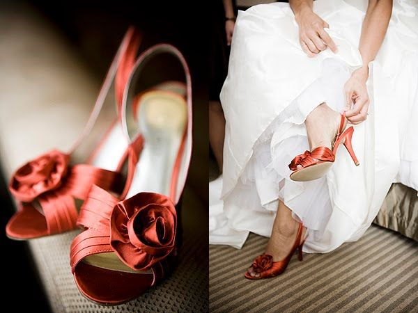 Gorgeous rust red bridal heel, peep toe with a beautiful fabric rosette