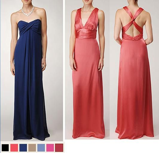 Long bridesmaids' dresses from Nicole Miller in midnight blue and coral