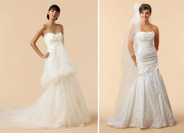 Strapless wedding dresses with tulle, ruching, and unique drop waist silhouettes