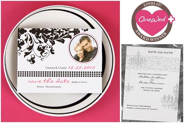 Chic black white and hot pink wedding savethedates