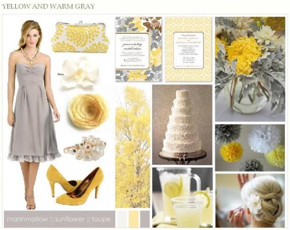 This grey and yellow inspiration board will provide inspiration for a fall wedding.