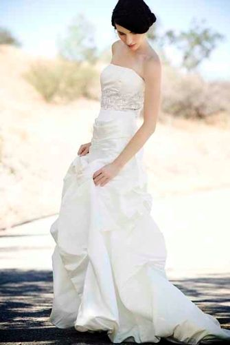 Jessica Iverson Eco Couture wedding dress with strapless neckline and silver beading