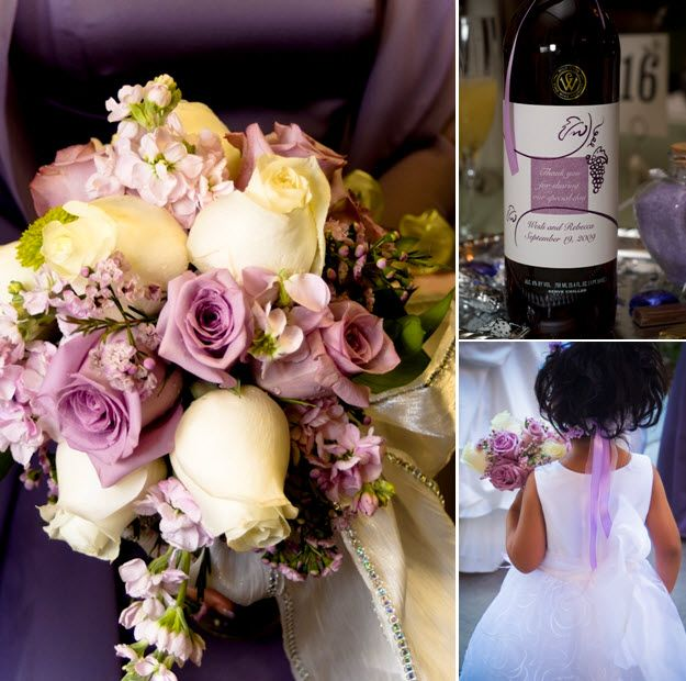 Closeup of bride's lilac, lavender and ivory rose bouquet; personalized wine bottles serve as guest