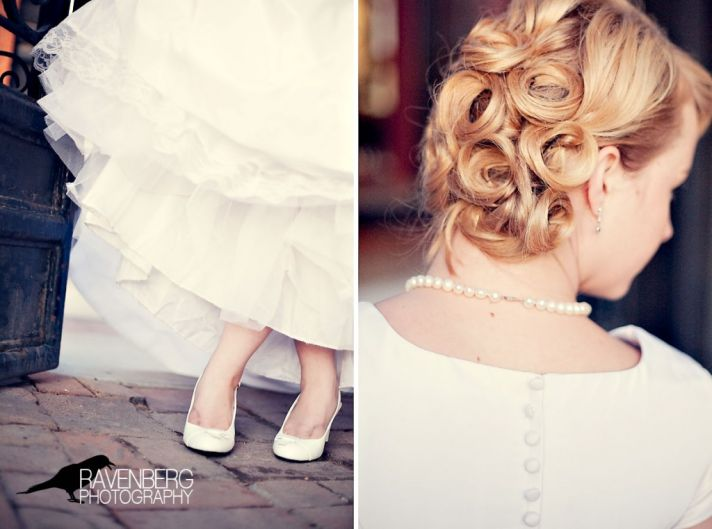 The bride's blonde pincurl hairdo and vintage ruffles go together perfectly.