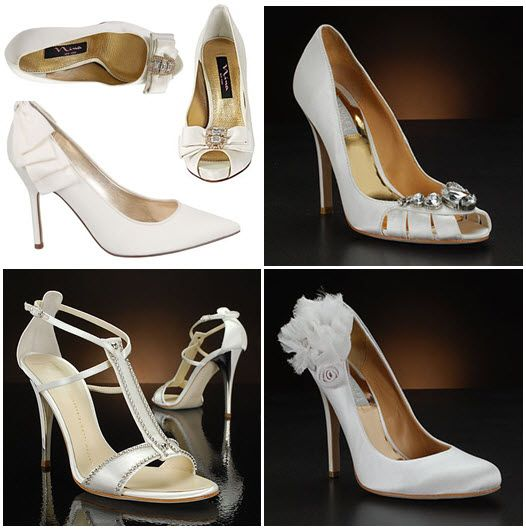 Sophisticated and stylish ivory and white bridal heels and peep toes