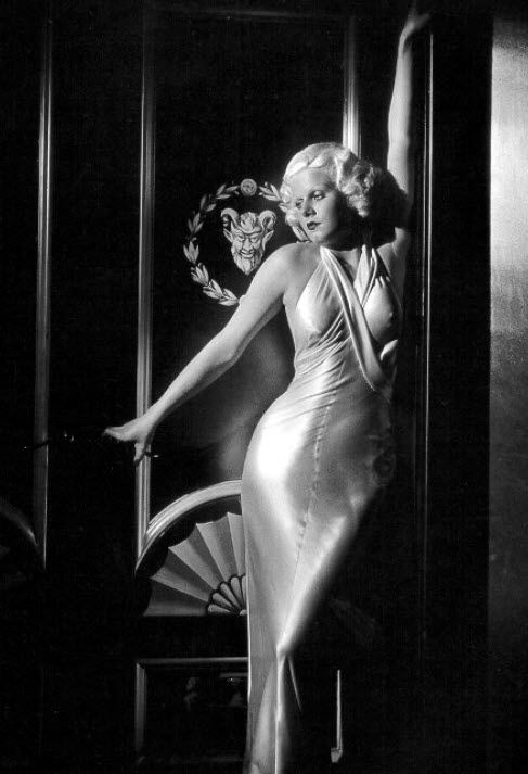Jean Harlow in sexy, slinky, figure-hugging bias cut satin dress