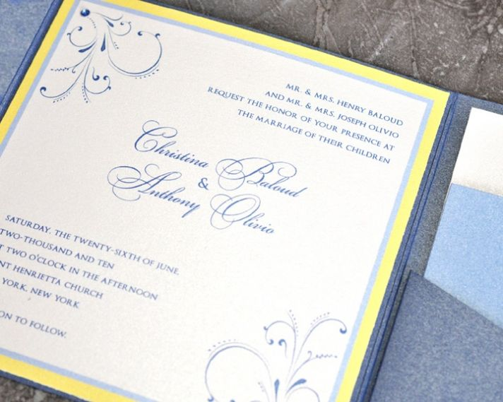 This blue and yellow wedding invitation shows how an invitation can be traditional and modern at the