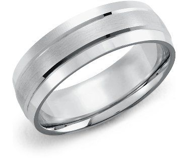 Beautiful double inlay white gold wedding band from Blue Nile