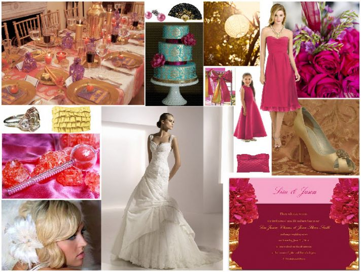 Chic gold and hot pink wedding color palette