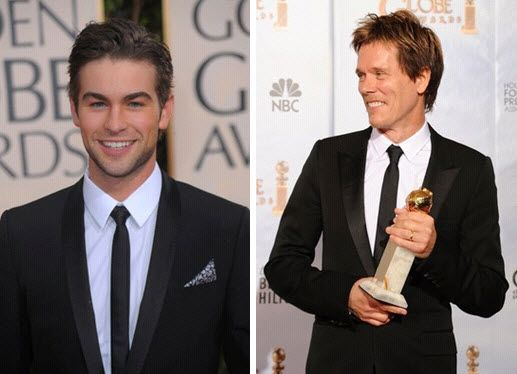 Chace Crawford and Kevin Bacon opted for skinny neck ties to wear with their tuxes