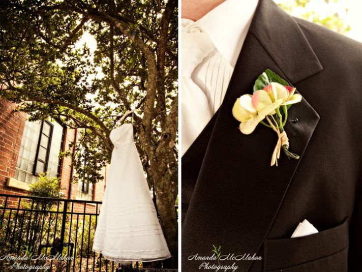 Bride's white strapless dress hangs outside on tree; detail shot of groom's traditional tux
