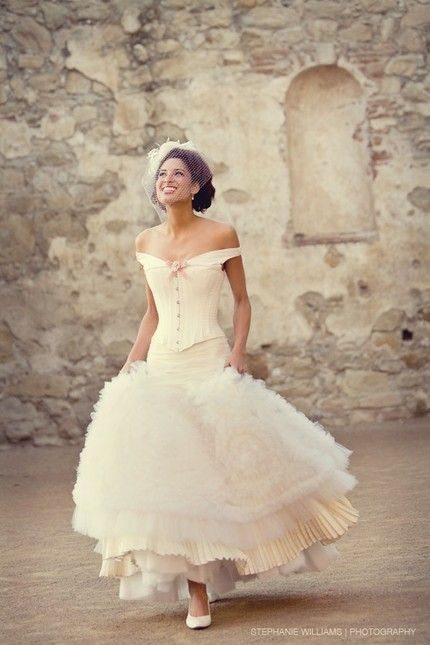 Gorgeous vintagestyle offtheshoulder ivory wedding dress by Joan Shum