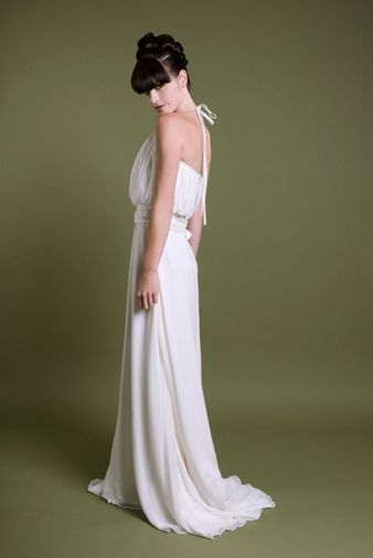 Super chic Jessica Iverson Couture halter wedding dress, perfect for a beach wedding
