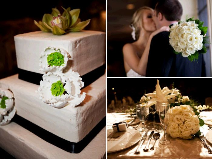 square white wedding cake adorned with black ribbon and white lime green