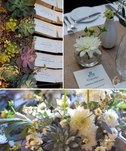 Beautiful green, grey, ivory succulents are eco-friendly and beautiful for your wedding!