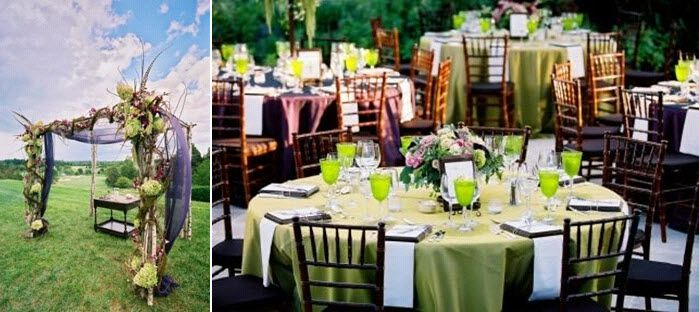 Beautiful chuppa outdoors at Keswick Hall; stunning green and pink tablescape