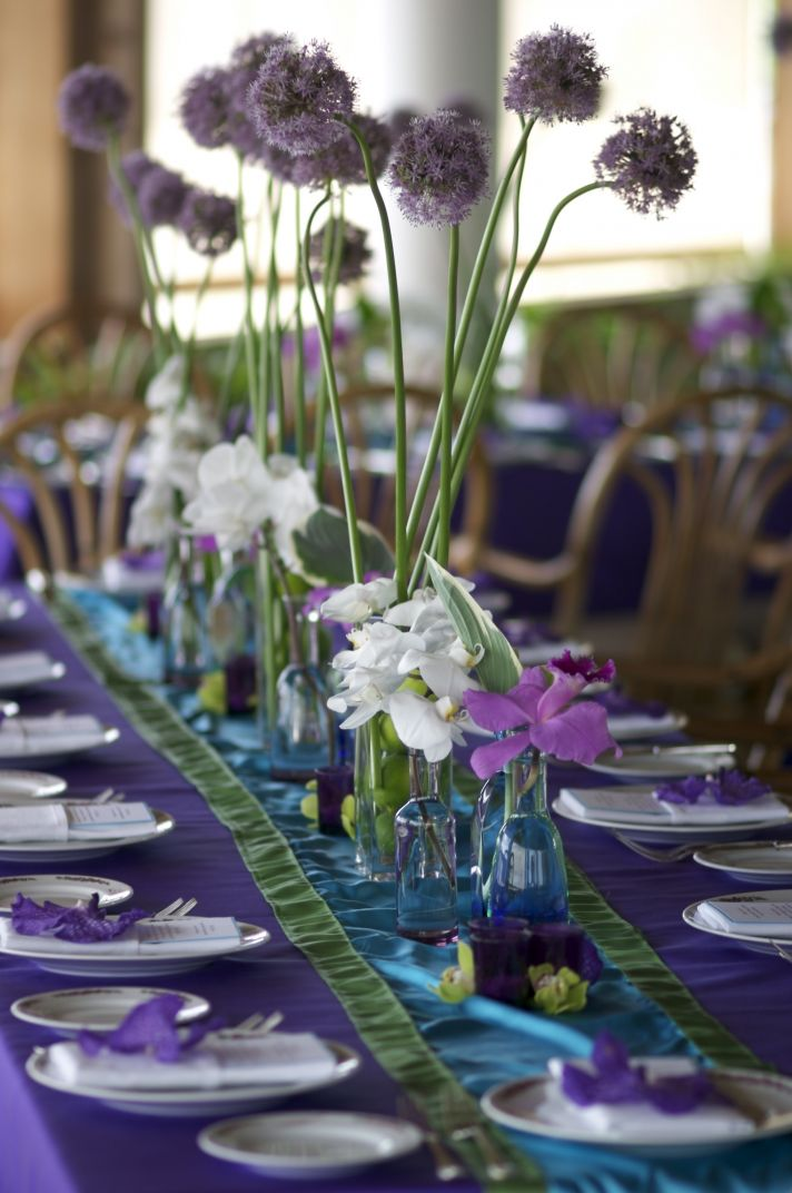 These beautiful purple wildflower centerpieces show how a wedding can be both sustainable and beauti