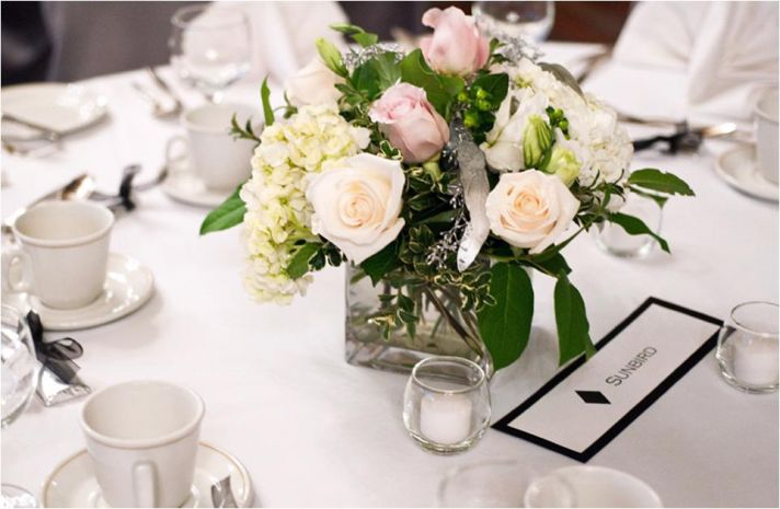 Personalized wedding- each guest table is named after a ski slope this couple loves!