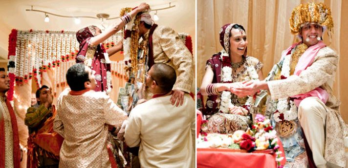 Bride and groom happily experience all of the wedding-day Hindu celebrations