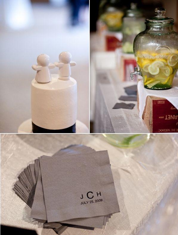 Chic wedding details- adorable white wedding cake topper, slate grey cocktail napkins with black mod
