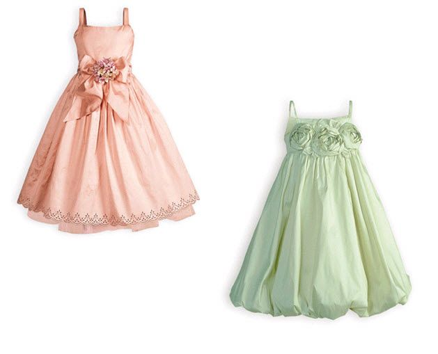 Cotton candy pink and sage green cute flower girl dresses- perfect for a Spring wedding