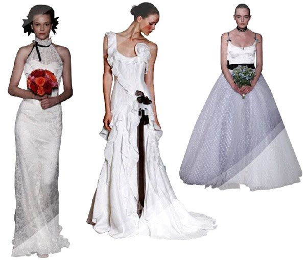 Carolina Herrera wedding dresses with black details, inspired by famous artists