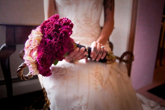 rockin-edgy-featured-wedding-tattoos-ivory-beaded-wedding-dress-fuchsia-bridal-bouquet