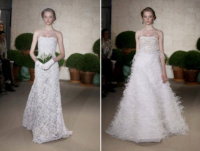 Ivory lace and feathered wedding dresses from Oscar de la Renta's 2011 collection