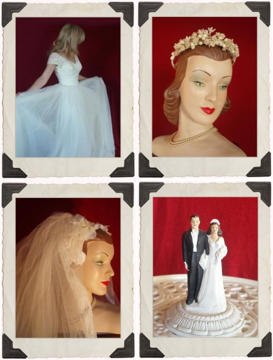 These cake toppers and images provide beautiful vintage inspiration for the vintage bride.