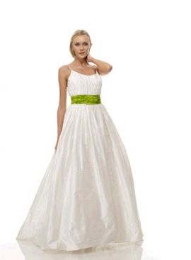This white cotton wedding dress from The Cotton Bride features a green sash and is floor length.