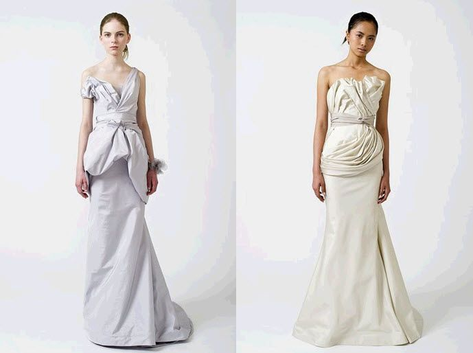 Stunning silver lilac and icy ivory silk fitted wedding dresses from Vera Wang's Spring 2011 collect