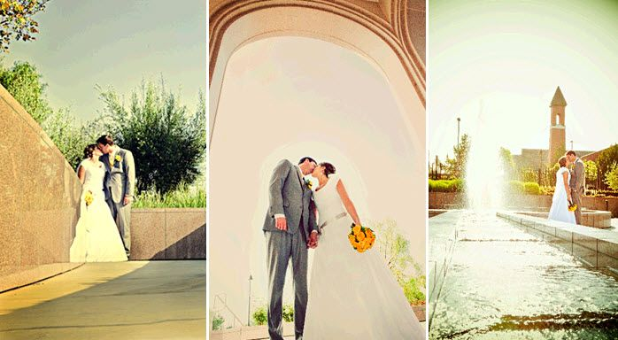 Bride in modest white wedding dress kisses groom in grey suit outside