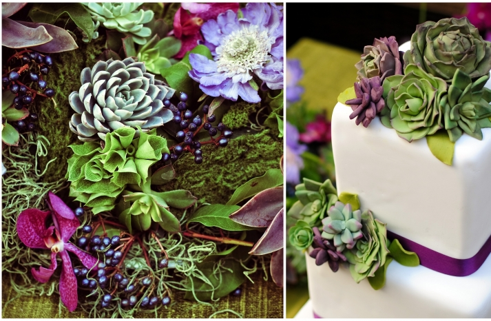 fondant-succulents-white-square-tiered-wedding-cake-purple-ribbon-gorgeous-fondant-succulents