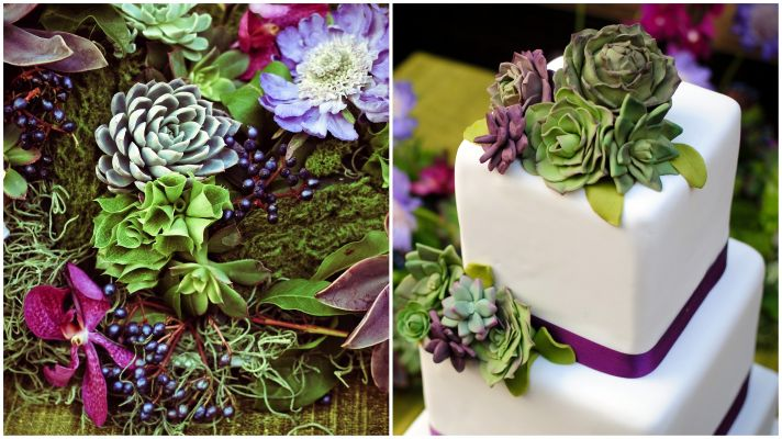 Stunning purple and green wedding color palette with vibrant succulents and wedding flowers