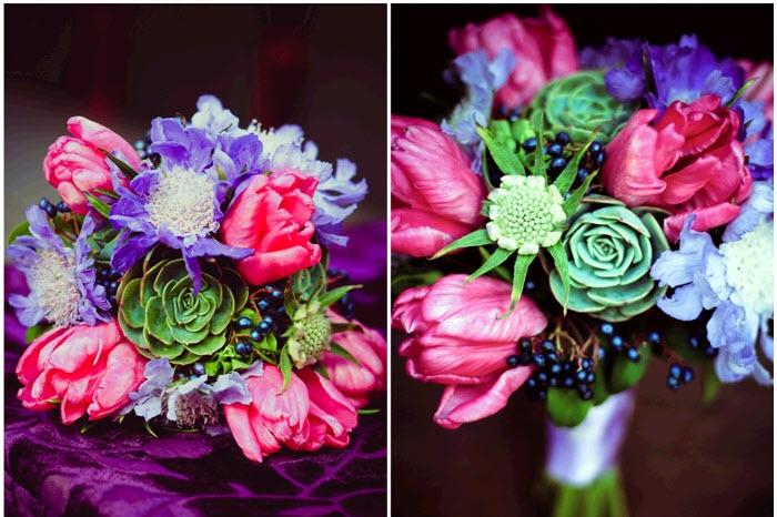 modern-california-wedding-hot-pink-purple-wedding-flowers-with-green-succulents-earthy