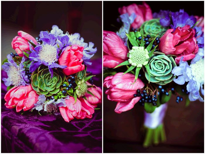 Modern Yet Earthy Bridal Bouquet Hot Pink And Purple Flowers Accented With Green Succulents