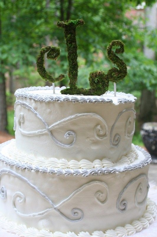 This two tier white wedding cake is decorated with a moss cake topper.