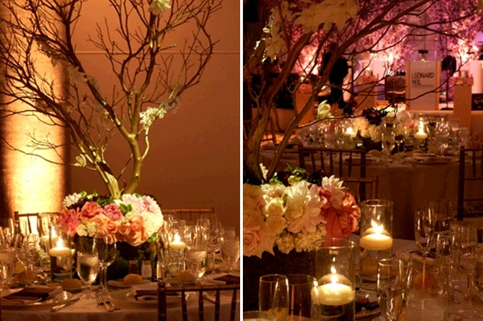 romantic-candlelit-outdoor-california-wedding-ceremony-manzanilla-branches-pink-ivory-floral-centerpieces
