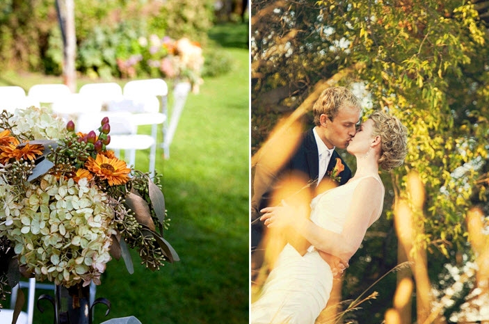 outdoor-rustic-MN-wedding-reception-white-ceremony-chairs-decorated-with-rustic-fall-floral-arrangement