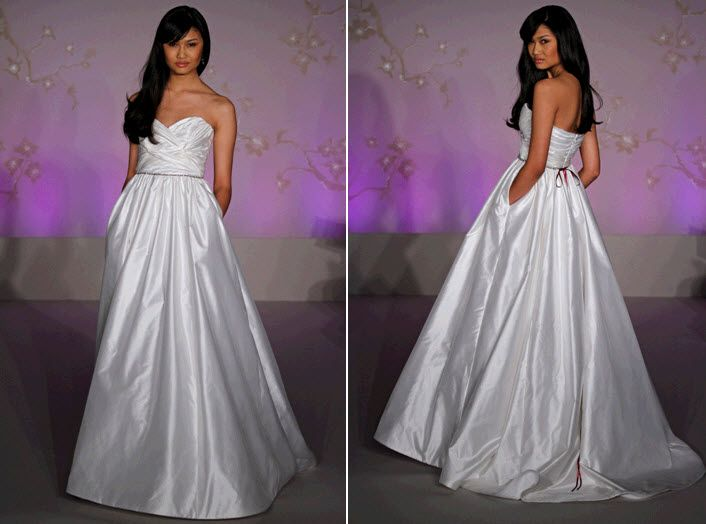 Simple and chic strapless ball gown wedding dress with pockets!