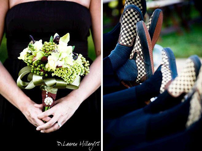 Bridesmaids wear black strapless J.Crew dresses; groomsmen wear checkered VANS