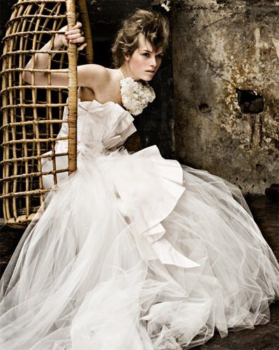 Beautiful strapless tulle wedding dress inspired by the ballet