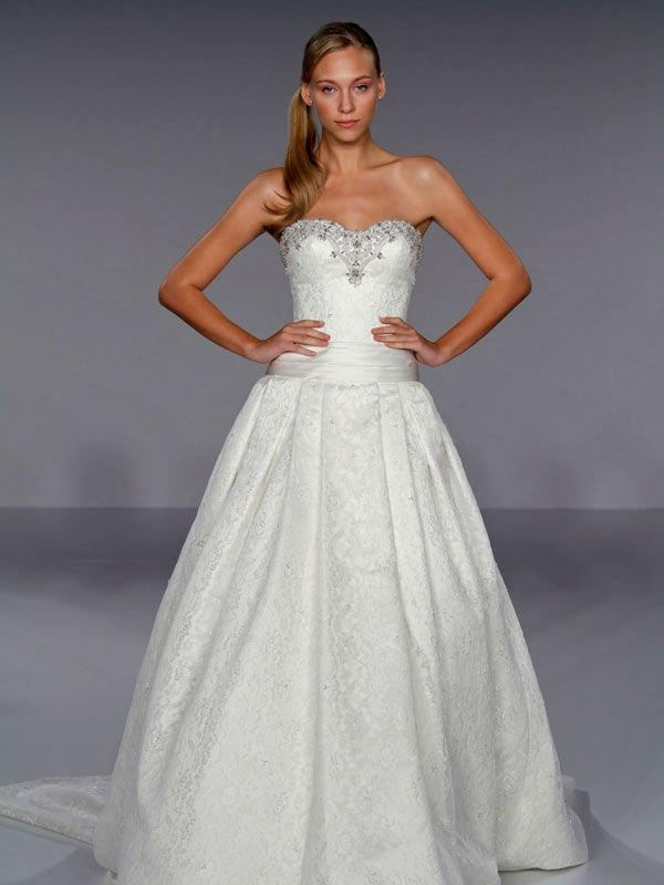 Dramatic white lace strapless ball gown wedding dress with jeweled neckline