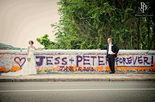 How romantic! A little wedding day graffiti to commemorate this special day