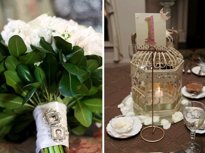 White bridal bouquet with vintage brooch charms; gold DIY birdcage wedding reception table centerpie
