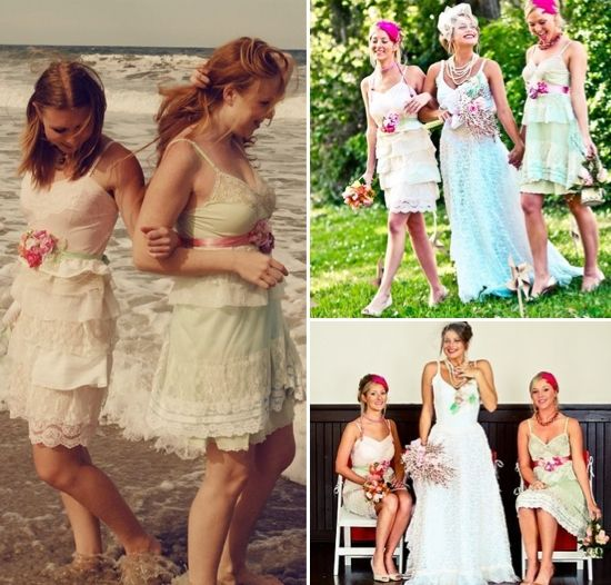 Romantic eco-chic bridesmaids dresses made from refashioned lace slips
